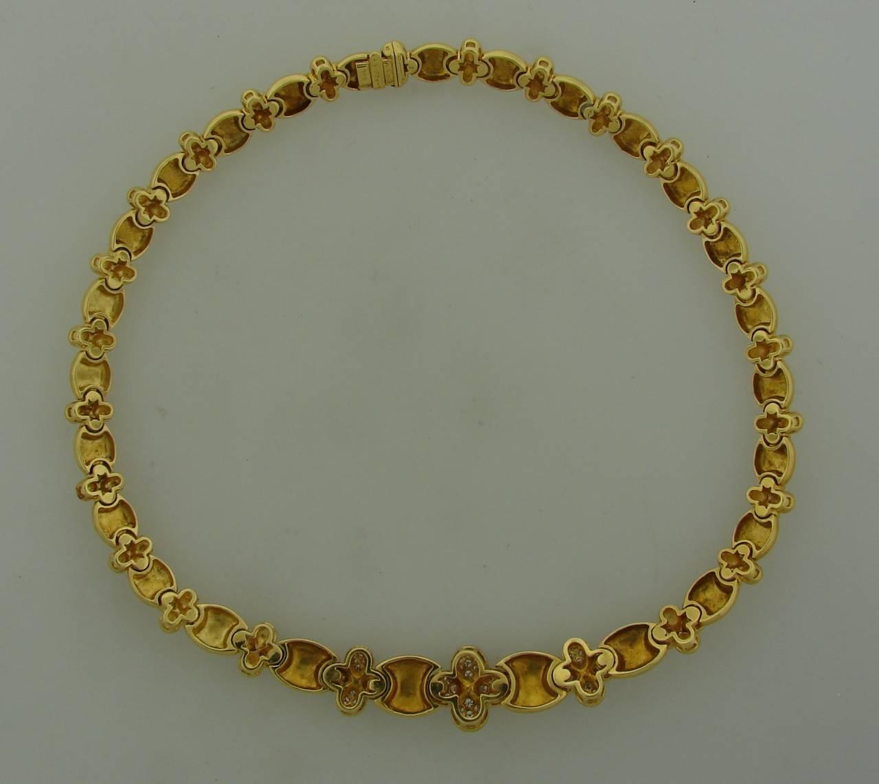 Clover Necklace Van Cleef: Van Cleef And Arpels Diamond Yellow Gold Clover Necklace