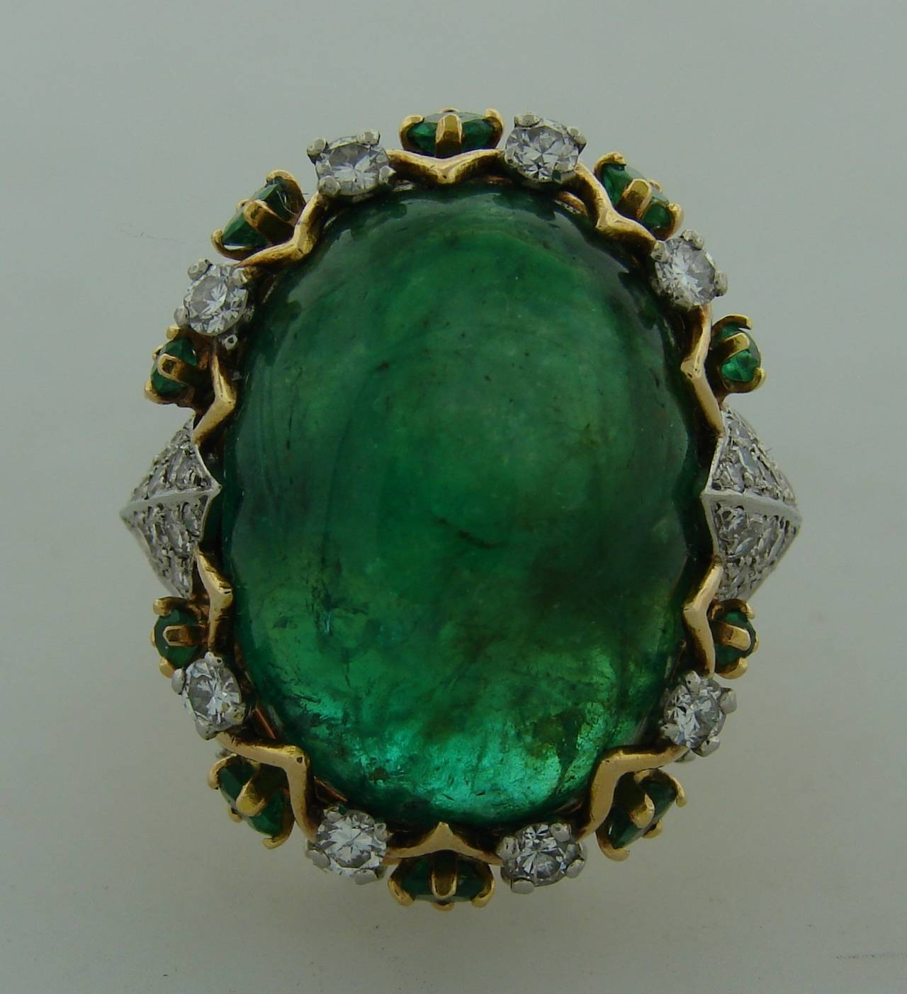 Sterle Cabochon Emerald Diamond Gold Ring For Sale At 1stdibs