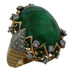 Sterle Cabochon Emerald Diamond Gold Ring