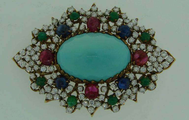 1970s Turquoise Diamond Gem Stone Gold Brooch Pin 2