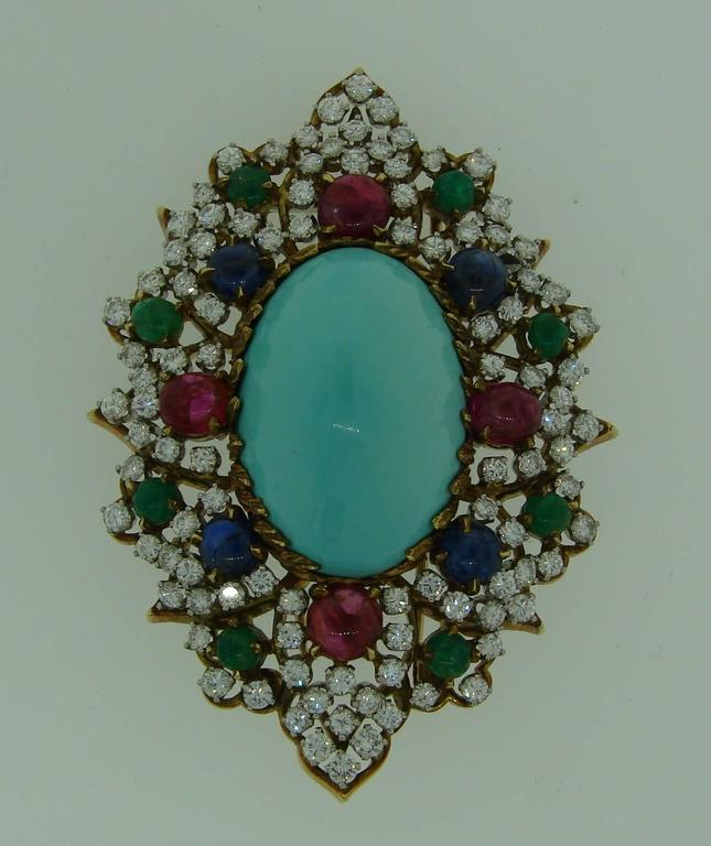 1970s Turquoise Diamond Gem Stone Gold Brooch Pin For Sale 2