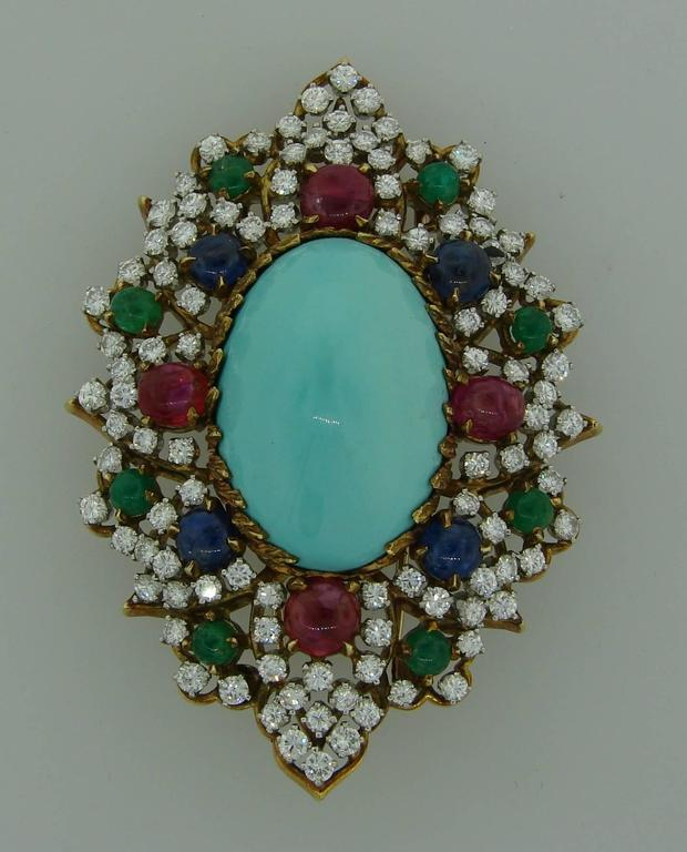 1970s Turquoise Diamond Gem Stone Gold Brooch Pin In Excellent Condition For Sale In Beverly Hills, CA