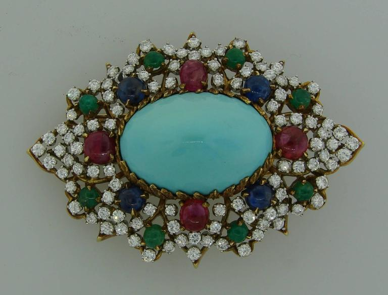 1970s Turquoise Diamond Gem Stone Gold Brooch Pin For Sale 1