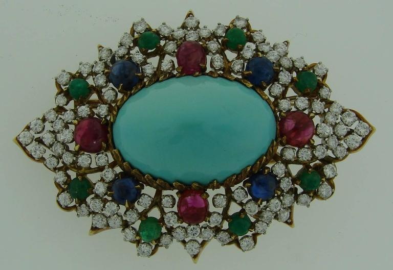 1970s Turquoise Diamond Gem Stone Gold Brooch Pin 4