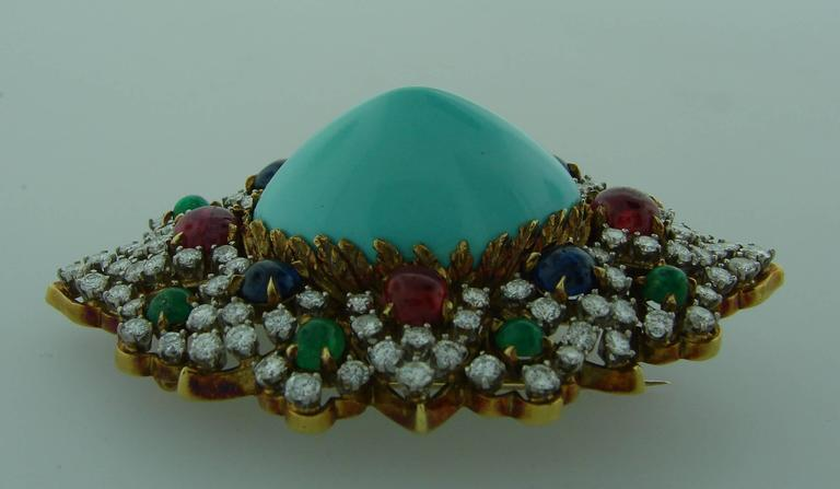 1970s Turquoise Diamond Gem Stone Gold Brooch Pin 7