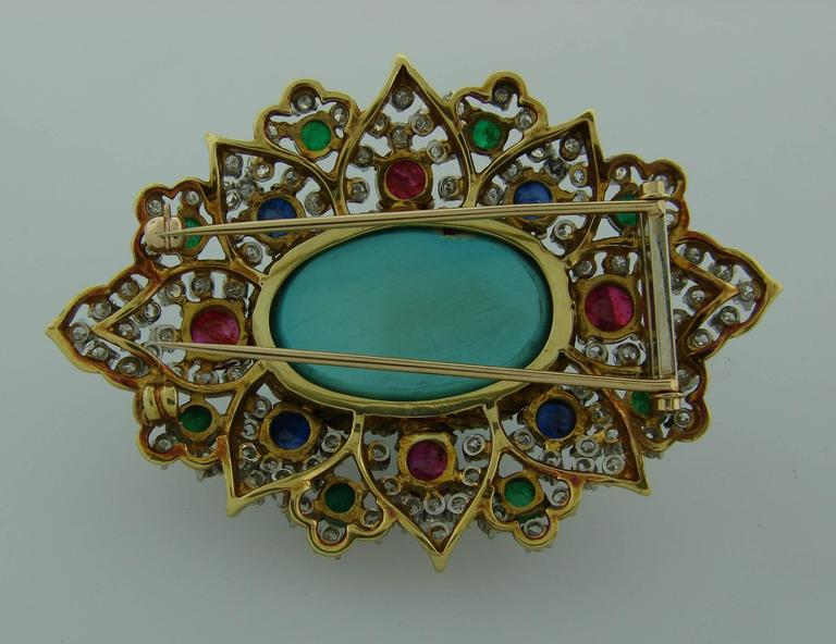 1970s Turquoise Diamond Gem Stone Gold Brooch Pin 8