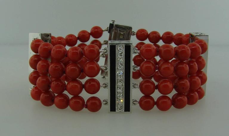 Coral Bead Diamond Black Enamel Gold Bracelet 2