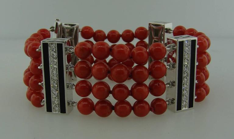 Coral Bead Diamond Black Enamel Gold Bracelet 3