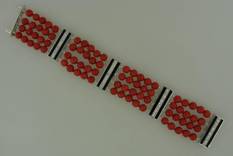 Coral Bead Diamond Black Enamel Gold Bracelet 4