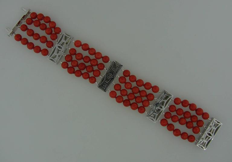 Coral Bead Diamond Black Enamel Gold Bracelet 5