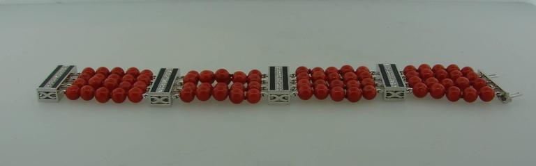 Coral Bead Diamond Black Enamel Gold Bracelet 6