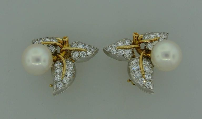 1970s Tiffany & Co. Schlumberger Pearl Diamond Gold Platinum Earrings 3