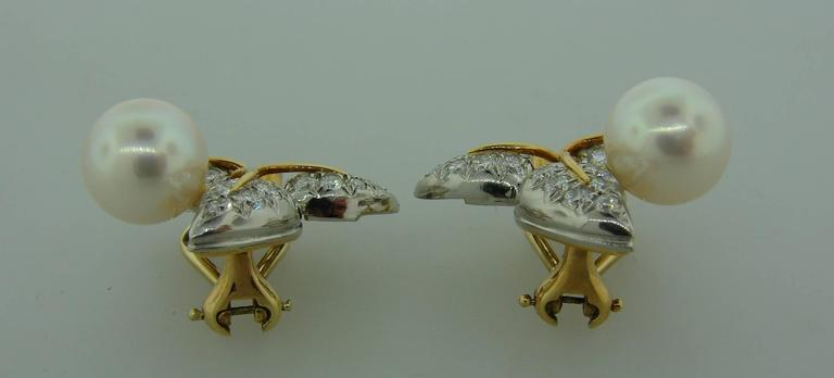 1970s Tiffany & Co. Schlumberger Pearl Diamond Gold Platinum Earrings 4