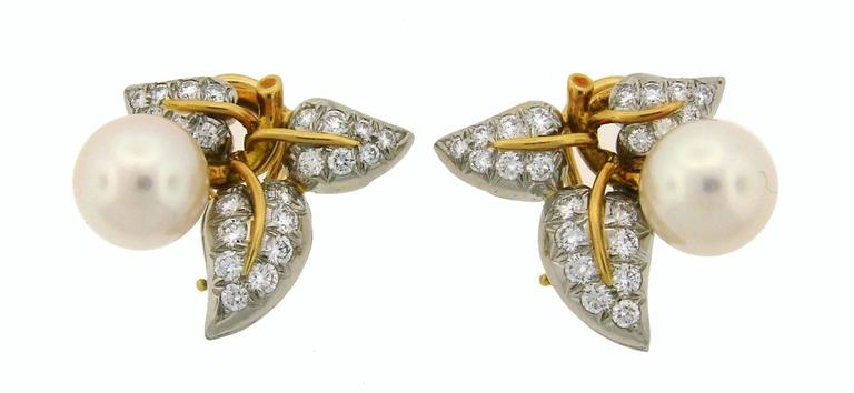 1970s Tiffany & Co. Schlumberger Pearl Diamond Gold Platinum Earrings 2