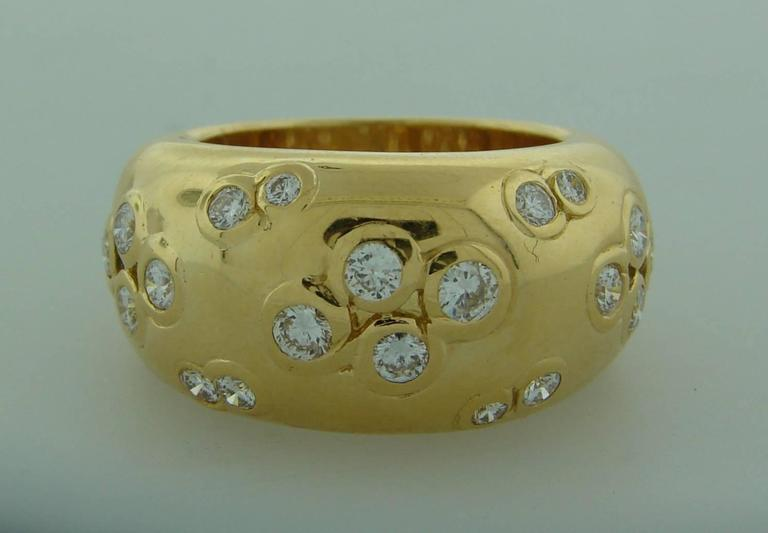 1994 Cartier Diamond Gold Band Ring In Excellent Condition For Sale In Beverly Hills, CA