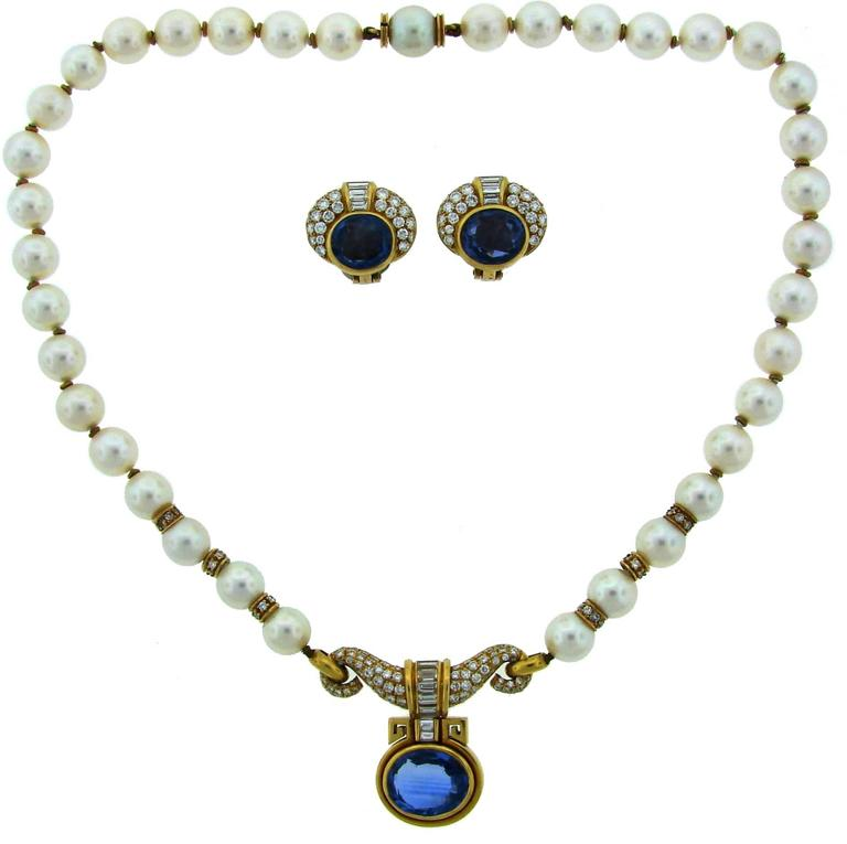 1980s Bulgari Pearl Sapphire Diamond Gold Necklace and Earrings Set For Sale