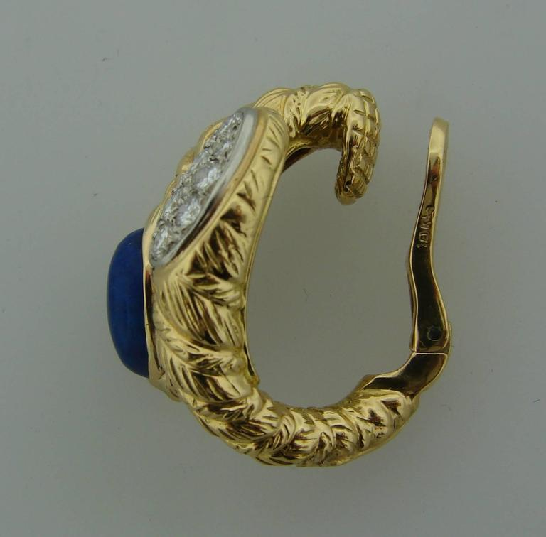 1970s Van Cleef & Arpels Lapis Lazuli Diamond Gold Earrings and Bracelet Set 9