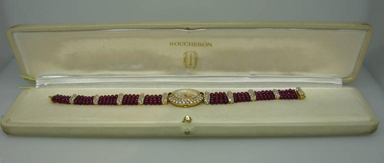 Boucheron Lady's Yellow Gold Diamond Ruby Quartz  Wristwatch For Sale 6