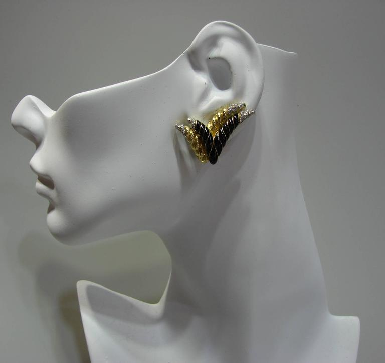 1980s David Webb Enamel Diamond Gold Earrings 7