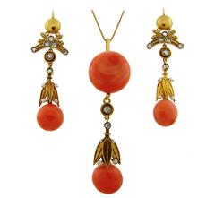 Victorian Coral Diamond Pearl Gold Pendant Necklace Earrings Set
