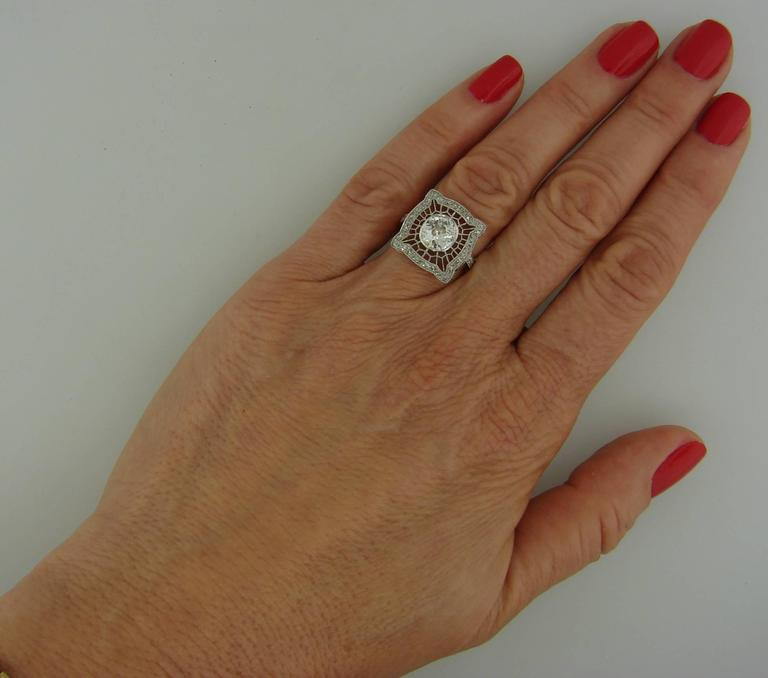 1960s Edwardian Revival Diamond Platinum Gold Ring For Sale 5