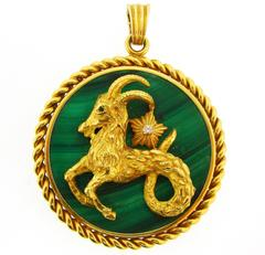 1970s Van Cleef & Arpels Malachite Diamond Gold Capricorn Pendant
