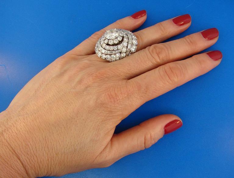 David Webb Diamond Platinum Cocktail Ring For Sale 5