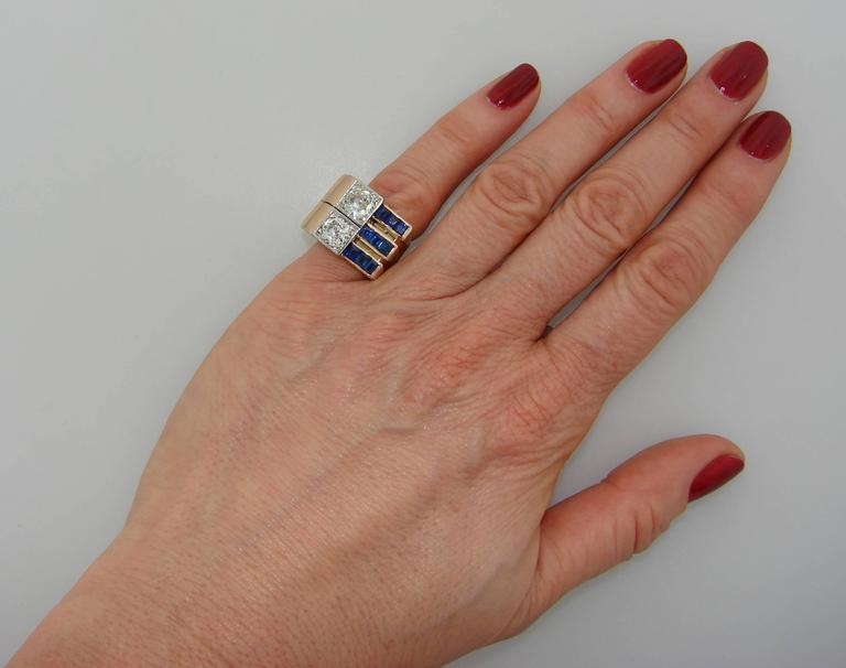 1940s Diamond Sapphire Rose Gold Retro Ring For Sale 5