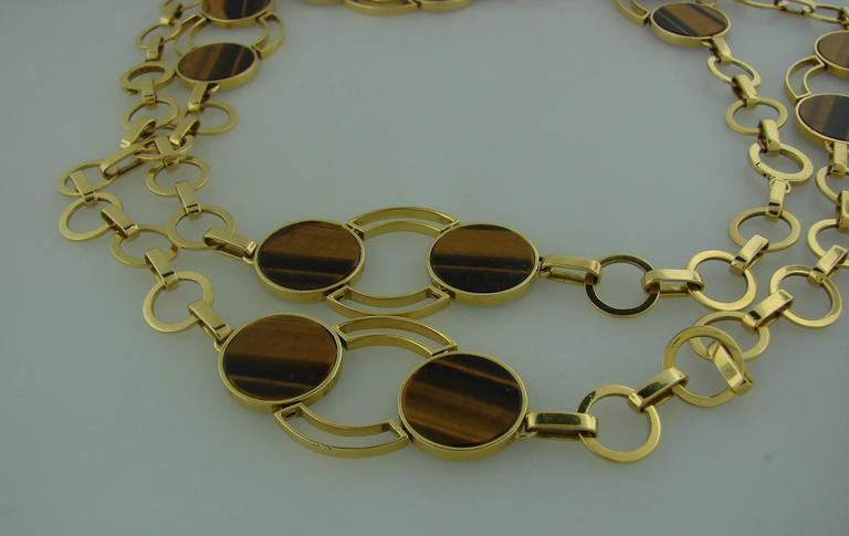 1970s GUCCI Tiger's Eye Gold Necklace Bracelet Set 6