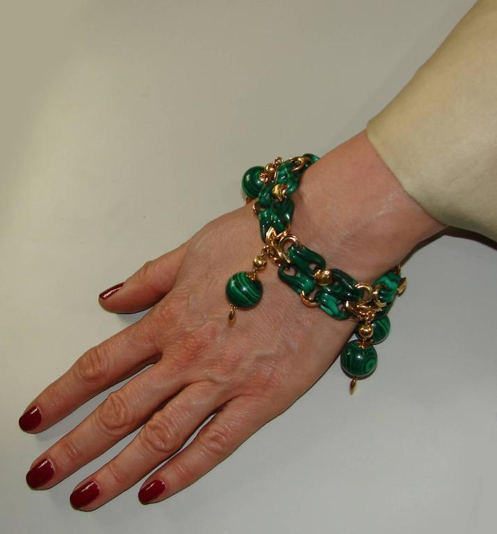 1970s French Malachite Gold Charm Bead Bracelet  3