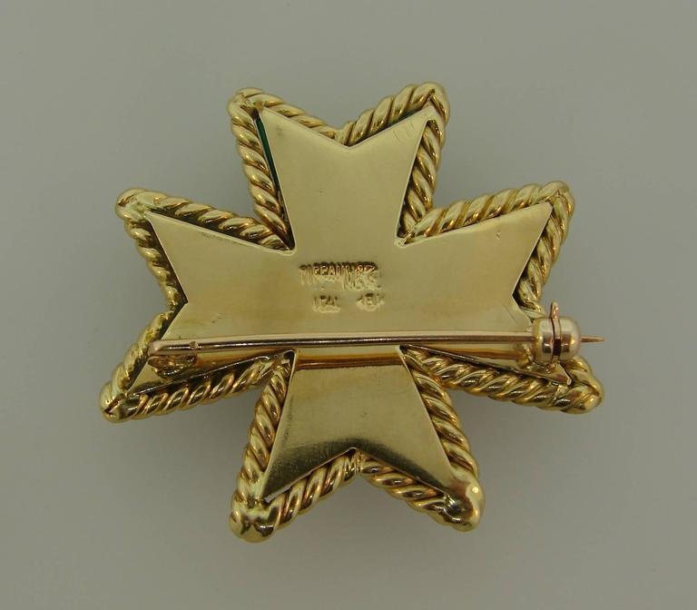 Women's or Men's Tiffany & Co. Malachite Yellow Gold Maltese Cross Pin Brooch Clip For Sale