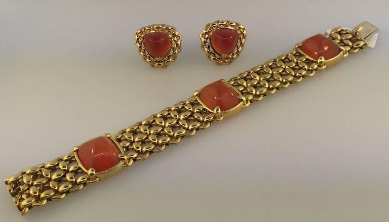 1980s Hermes Carnelian Yellow Gold Earrings and Bracelet Set 3