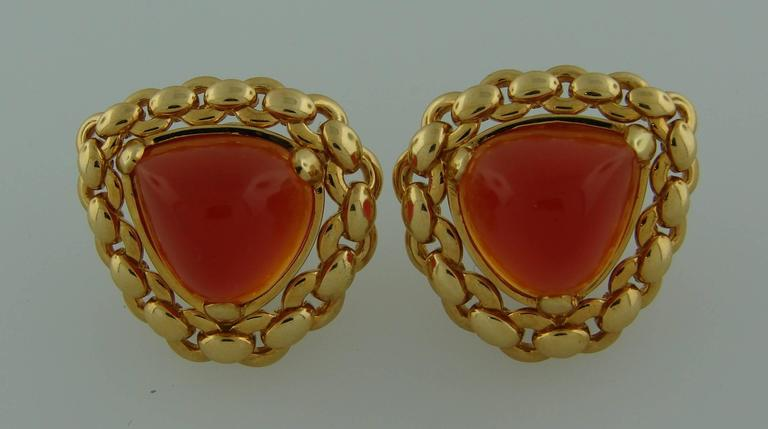 1980s Hermes Carnelian Yellow Gold Earrings and Bracelet Set 5