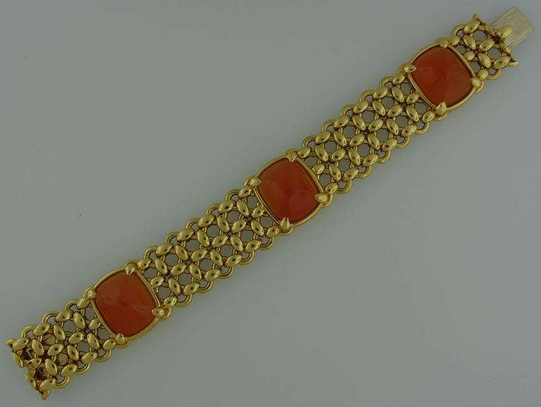 1980s Hermes Carnelian Yellow Gold Earrings and Bracelet Set 8