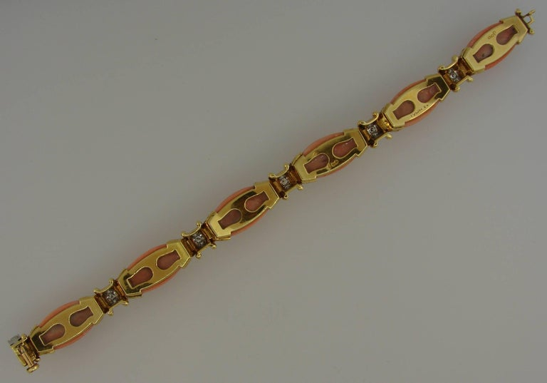 Vintage Van Cleef & Arpels Coral Diamond Yellow Gold Bracelet 7