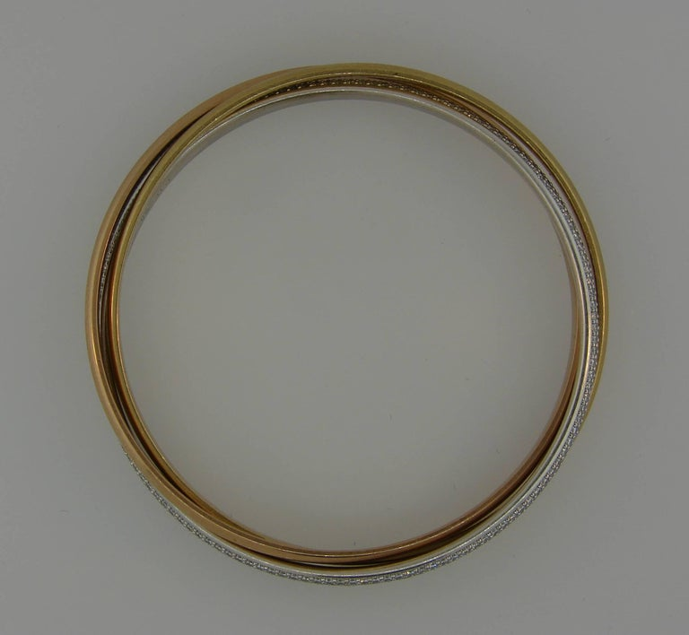 Cartier Diamond Three-Tone Gold Trinity Bangle Bracelet For Sale 1