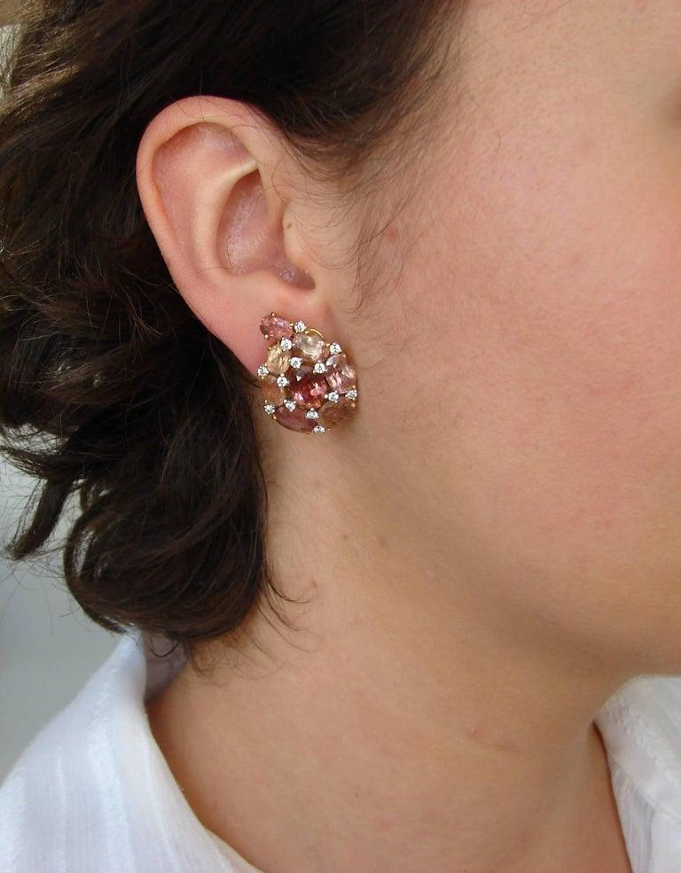 Verdura Tourmaline Diamond Yellow Gold Earrings 2