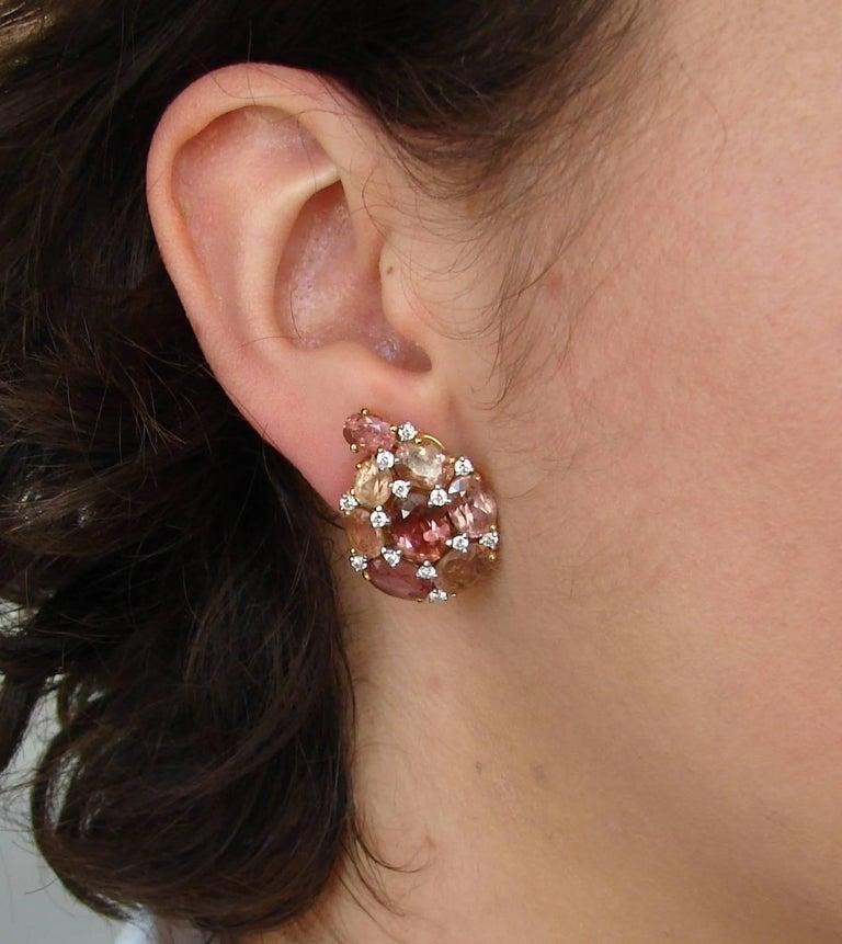 Verdura Tourmaline Diamond Yellow Gold Earrings 3