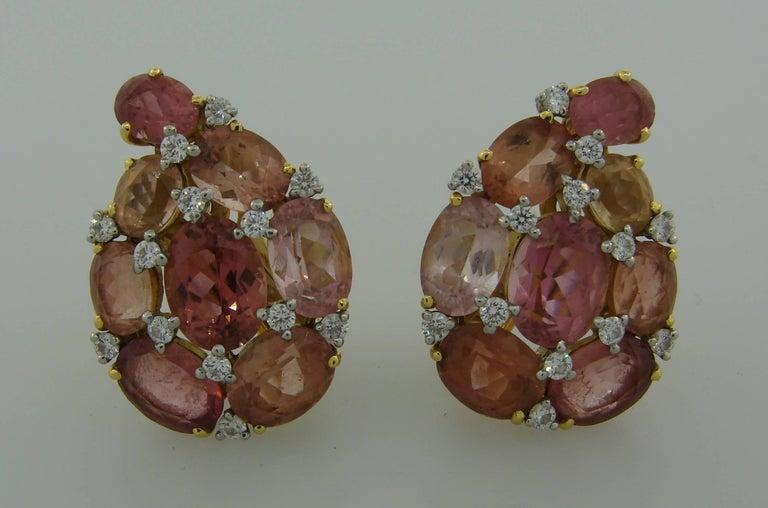 Verdura Tourmaline Diamond Yellow Gold Earrings 5