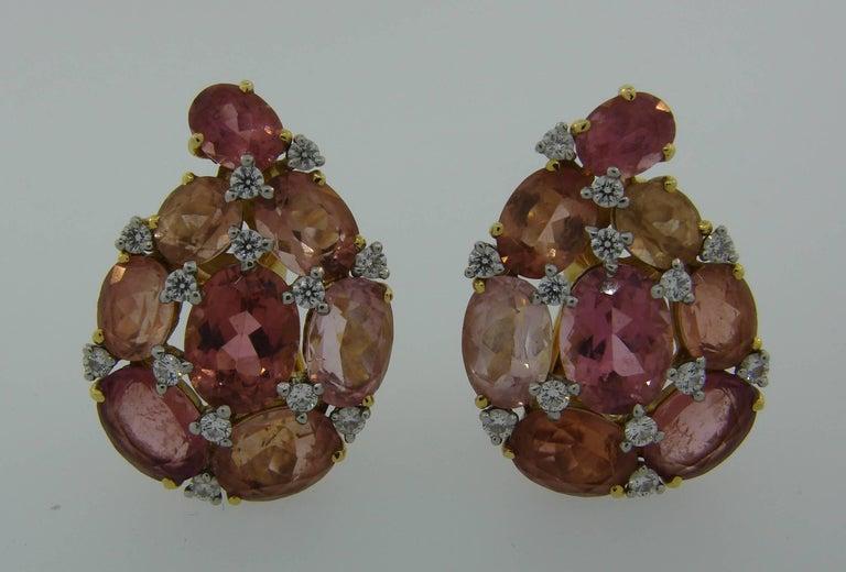 Verdura Tourmaline Diamond Yellow Gold Earrings 6