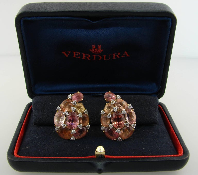 Verdura Tourmaline Diamond Yellow Gold Earrings 4