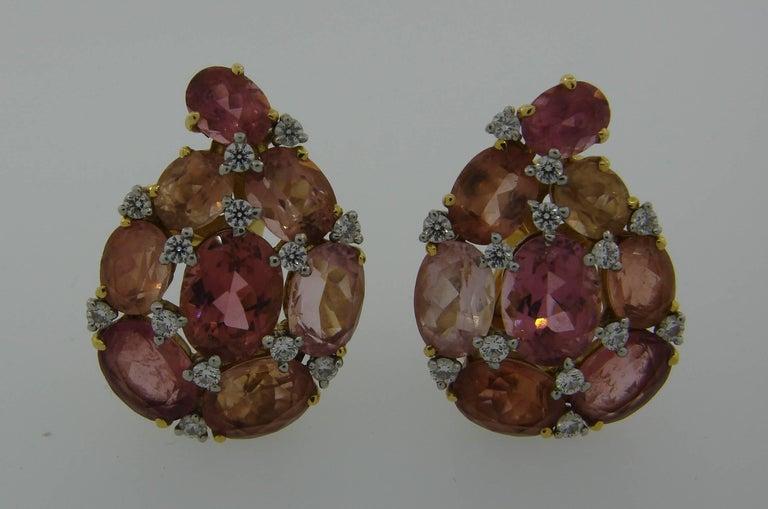 Verdura Tourmaline Diamond Yellow Gold Earrings 7
