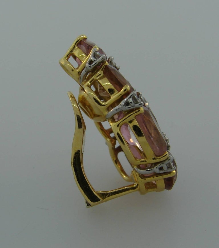 Verdura Tourmaline Diamond Yellow Gold Earrings 8