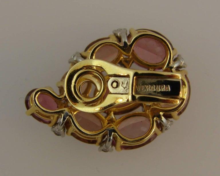 Verdura Tourmaline Diamond Yellow Gold Earrings 9