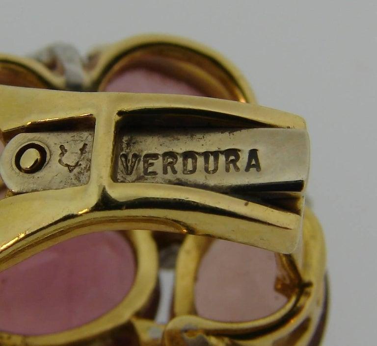 Verdura Tourmaline Diamond Yellow Gold Earrings 10