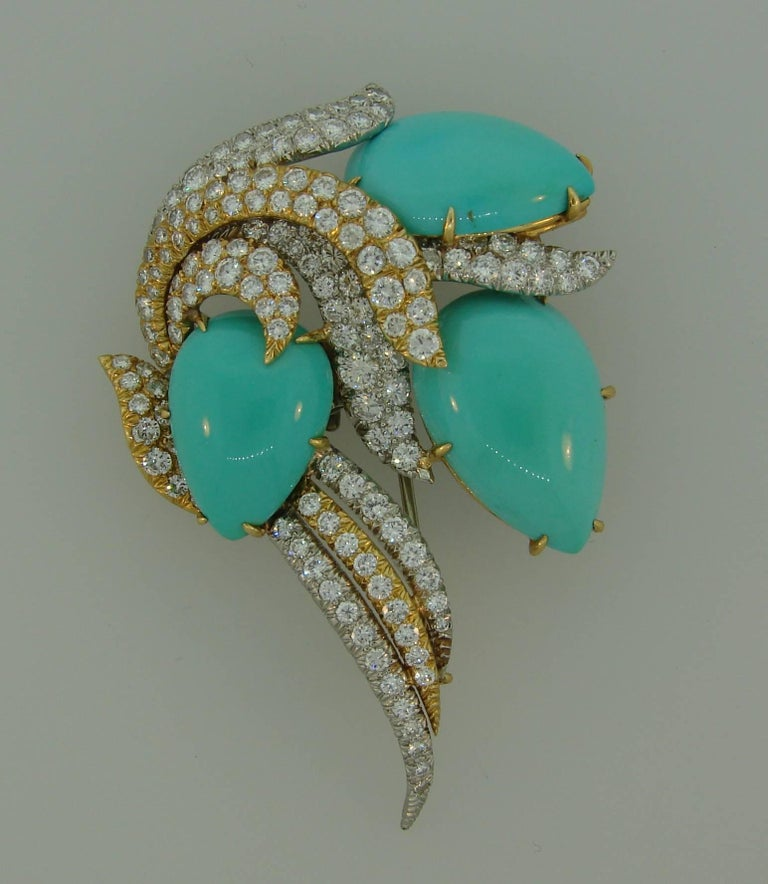David Webb Turquoise Diamond Gold Platinum Brooch Pin Clip Pendant In Excellent Condition For Sale In Beverly Hills, CA