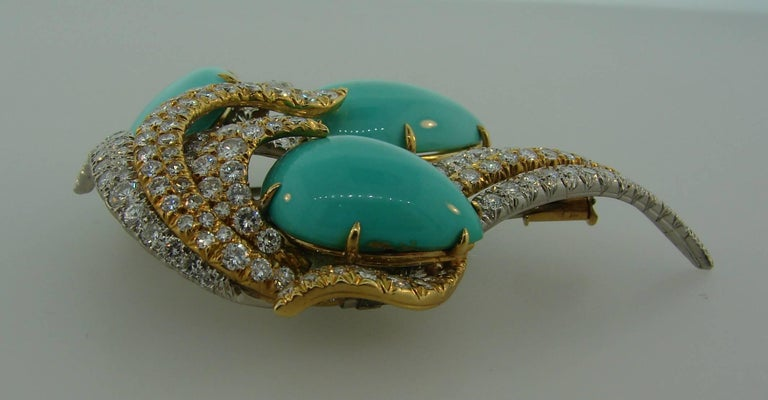 David Webb Turquoise Diamond Gold Platinum Brooch Pin Clip Pendant 4