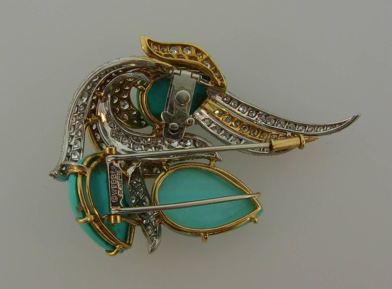 David Webb Turquoise Diamond Gold Platinum Brooch Pin Clip Pendant For Sale 1