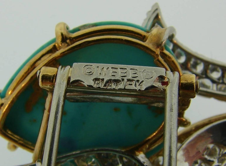 David Webb Turquoise Diamond Gold Platinum Brooch Pin Clip Pendant 6
