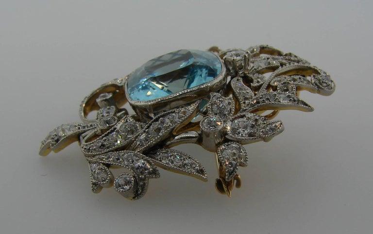 Women's Black, Starr and Frost Aquamarine Diamond Platinum Gold Pendant Pin Brooch For Sale